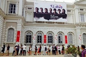 People queueing for the three-day screening of 7 Letters at the Theatre Gallery, National Museum of Singapore.