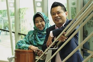 Veteran singer Nona Asiah and her son, music arranger Indra Shahrir Ismail (both top); and host Najip Ali (above).