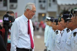 "Emeritus Senior Minister Goh Chok Tong at the ""Future Begins with the Past"" Marine Parade SG50 Celebratory Parade on Aug 2, 2015."