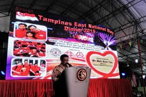 Mr Mah Bow Tan making the announcement at the Tampines East National Day Dinner.