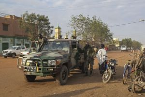 Malian forces patrolling through the northern town of Sevare in a file photo.