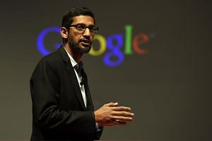 Google's Senior Vice President Sundar Pichai giving a keynote address during the opening day of the 2015 Mobile World Congress (MWC) in Barcelona on March 2, 2015.