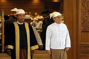Tension had been rising between Mr Shwe Mann (left), Speaker of Parliament, and Myanmar's President Thein Sein. Observers point to several instances of friction between the two that led to Mr Shwe Mann's ouster.