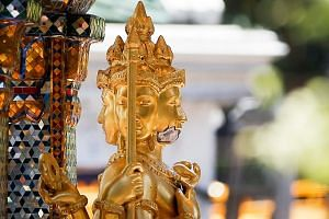 Damage is seen on the Erawan shrine after a bomb was detonated on Aug 17, outside Erawan Shrine in central of Bangkok, Thailand, on Aug 18, 2015.