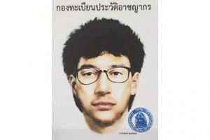 This image released by the Royal Thai Police on Aug 19 shows the photofit of a man suspected to be the Bangkok bomber, seen on security footage leaving a backpack at a shrine moments before a bomb detonated, killing 20 people and wounding scores more