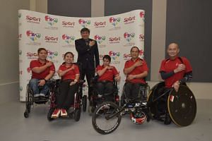 Singapore Asean Para Games Organising Committee chairman Lim Teck Yin (third from left) with athletes Theresa Goh (left), Jeralyn Tan (second from left), Neo Kah Whye (third from right), Eugene Soh (second from right) and William Tan (right).