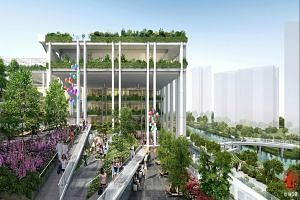 An artist's impression of the neighbourhood centre located next to Punggol Waterway, where residents can come together to bond over plants and greenery. It is the first of four new-generation centres to be built by the Housing Board over the next thr