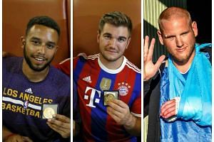 (From left) Anthony Sadler, Aleksander Skarlatos and Spencer Stone tackled, disarmed and subdued the assailant.
