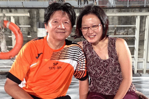 Former soccer hero Quah Kim Song (left) and WP chairman Sylvia Lim.