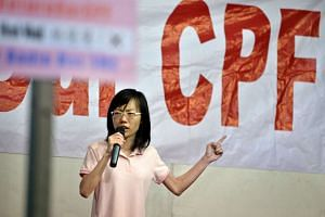 Ms Han Hui Hui, independent candidate for Radin Mas SMC, speaking at her first election rally at Delta Hockey Pitch on Sept 3, 2015.