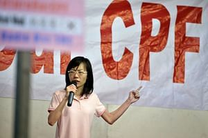 Ms Han Hui Hui, the independent candidate for Radin Mas SMC, speaking at her first election rally held at Delta Hockey Pitch on Sept 3, 2015.