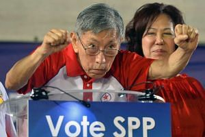 Mr Chiam See Tong speaking at the SPP rally at Toa Payoh Stadium on Sept 4, 2015.