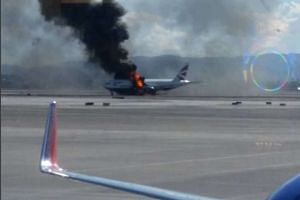 A photograph posted on Instagram shows the plane on fire at McCarran International Airport.
