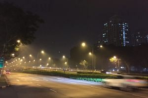 The haze at around 9.25pm at Braddell Road.