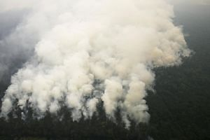 A helicopter dropping water to extinguish a raging fire in Ogan Komering Ilir, in Indonesia's South Sumatra province, on Sunday. Above: An aerial view of smoke rising from a burning forest in Ogan Komering Ulu last Thursday. Left: A worker donning pr
