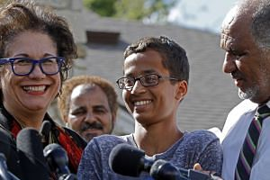 (From left) Attorney Linda Moreno, Ahmed Ahmed Mohamed, and Mohamed Elhassan Mohamed address the media during a news conference on Sept 16, 2015 in Irving, Texas.