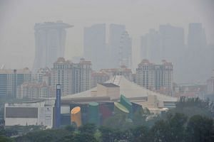View of the haze from Cassia Crescent on Sept 16, 2015.