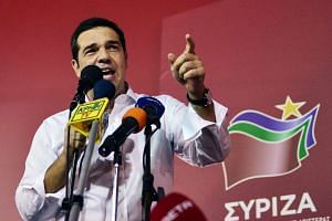 Alexis Tsipras addressing supporters after his party's victory in the Greek general election.