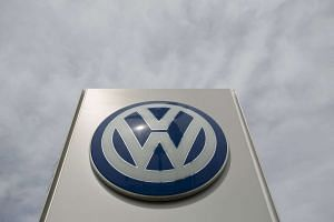 The logo of a Volkswagen dealership is pictured in Pasadena, California on Sept 21, 2015.