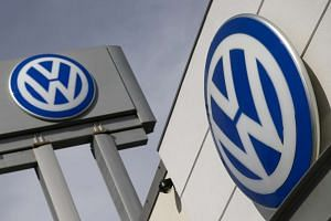 Volkswagen's logos seen at a VW dealership in New York on Sept 21, 2015.