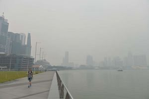 The Singapore skyline obscured by the haze in the Marina Bay area on Sept 22, 2015.