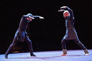 Spanish flamenco artist Israel Galvan (far left) and British kathak dancer Akram Khan in Torobaka, a dance duet they created together.