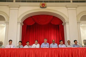 Prime Minister Lee Hsien Loong announcing his Cabinet and other office holders at a press conference held at the Istana on Monday, Sept 28, 2015.