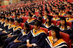 NTU graduates at their convocation. The university's rise in recent years has been largely attributed to its improved score in research.