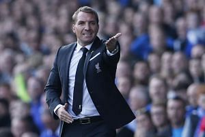 Liverpool manager Brendan Rodgers gestures during the English Premier League football match against Everton at Goodison Park on Oct 4, 2015.
