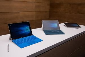 Microsoft Surface Pro 4s on display at a media event on Oct 6 in New York.