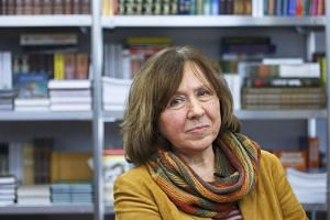 Belarusian writer Svetlana Alexievich posing at a book fair in Minsk, Belarus, on Feb 8, 2014.