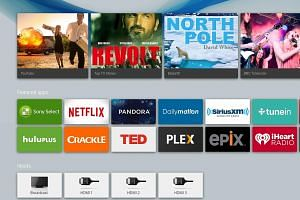 Screenshot of Sony Android TV. Navigation is via one of two remote controls.