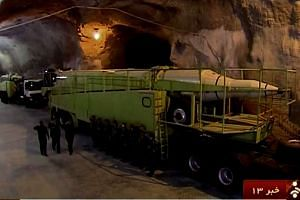 The unprecedented footage reportedly shows missile launchers in an underground tunnel at an unknown location in Iran.