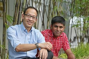 Singapore Environment Council executive director Edwin Seah (left) with SEC eco-certification head Kavickumar Muruganathan. SEC received about a dozen calls from members of the public after the NEA, on Sept 25, said it had served APP a legal notice t