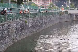A screenshot of the YouTube clip showing a man appearing to lower his fishing line into Kallang River near Lorong 8 Toa Payoh.
