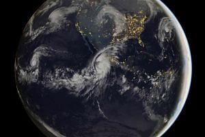 A satellite image shows the scale of Category Five Hurricane Patricia, off the Pacific coast of Mexico.