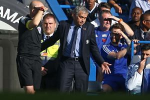 Mourinho gestures during the match.