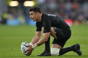New Zealand's fly half Dan Carter prepares to convert the first try during the final match of the 2015 Rugby World Cup.