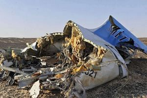 Debris from crashed Russian jet lies on the sand at the site of the crash, Sinai, Egypt, Oct 2015.