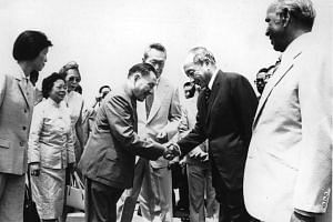 Chinese leader Deng Xiaoping (left) shaking hands with Dr Goh Keng Swee during his visit to Singapore in 1978. Mr Lee Kuan Yew and comrades Goh Keng Swee and S. Rajaratnam (right) had a laser-like focus which was always the national interest of Singapore.