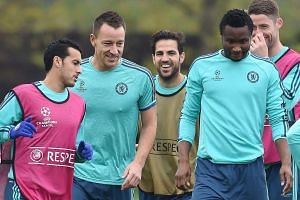 Chelsea's John Terry (second left) at a team training session on Nov 3, 2015.