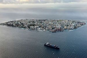 A aerial view of the island of Male, the capital of the Maldives.