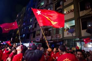 Supporters of Myanmar opposition leader Aung San Suu Kyi's National League for Democracy (NLD).