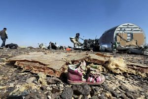 A child's shoe is seen in front of debris from a Russian airliner which crashed at the Hassana area in Arish city, north Egypt, on Oct 31, 2015.