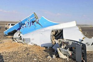 Debris from crashed Russian jet lies strewn across the sands of  the Sinai in Egypt.