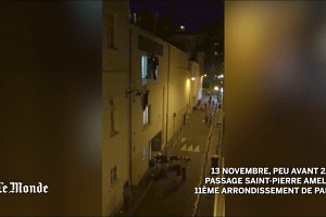people climbing out of the windows and running from the emergency exit of then Bataclan concert hall.