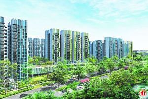 Artist's impressions of Alkaff LakeView, one of the first three HDB projects to be launched in Bidadari, which will have views of the new Alkaff Lake.