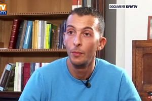 Mohamed Abdeslam in a screenshot from the BFMTV interview.
