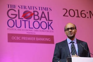 DPM Tharman Shanmugaratnam  speaking at The Straits Times Global Forum 2015 on Nov 20, 2015.