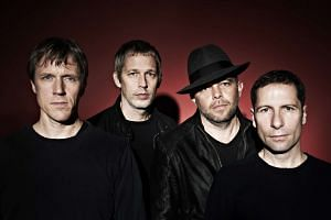 """British band Ride members (from left) Laurence """"Loz"""" Colbert, Andy Bell, Mark Gardener and Steve Queralt."""